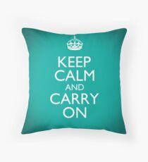 Keep Calm and Carry On - Classic Clean Aquamarine Teal Throw Pillow