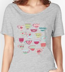 China Teacups on Teal Women's Relaxed Fit T-Shirt