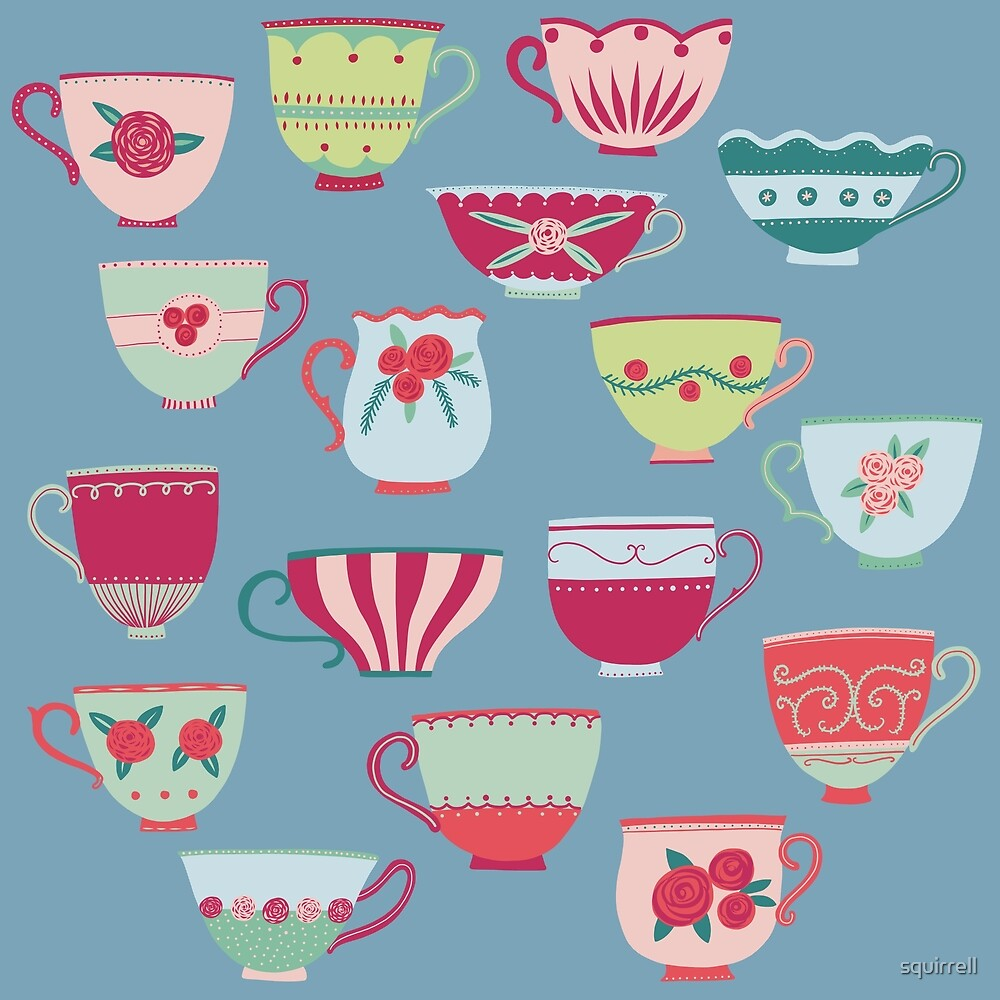 China Teacups on Teal by Nic Squirrell