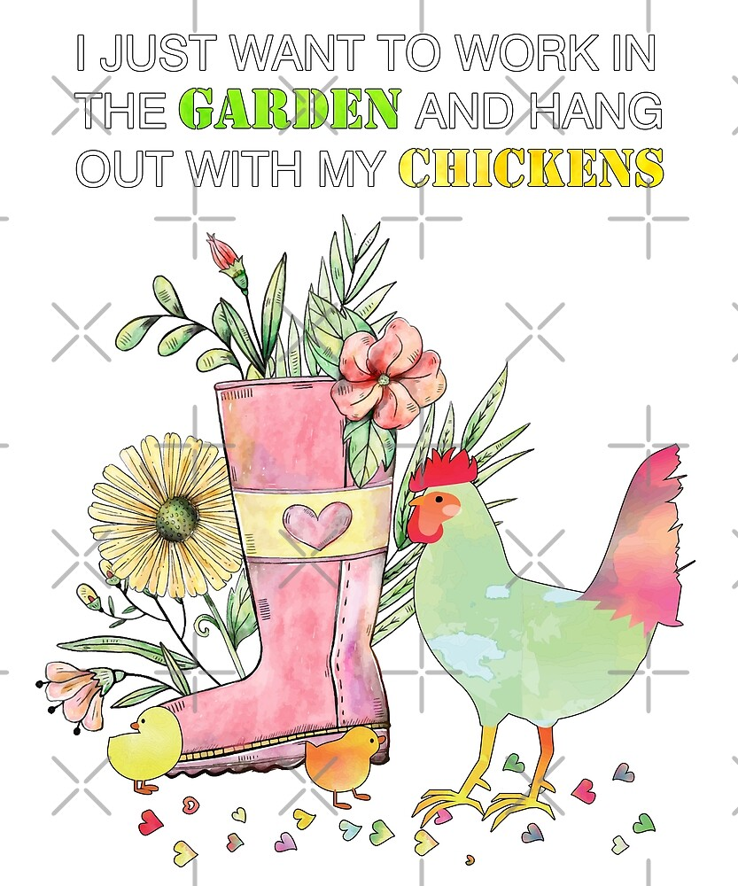 Funny Work In Garden Be With Chickens Watercolor Art by JapaneseInkArt