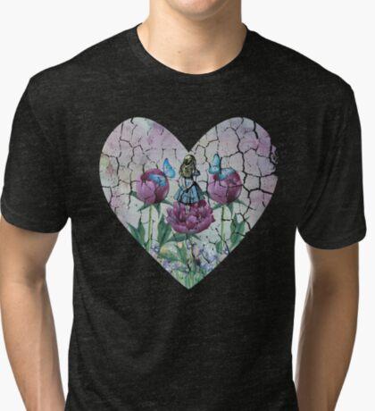 Alicia en el país de las maravillas - Jardín de las maravillas - Forma de corazón Camiseta de tejido mixto