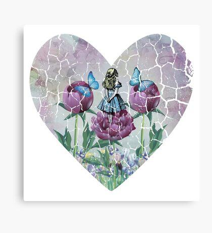 Alicia en el país de las maravillas - Jardín de las maravillas - Forma de corazón Lienzo