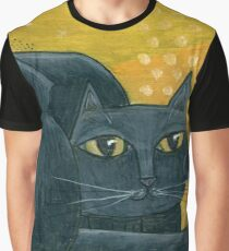 Mid-Century Modern Black Cat on Mustard Background Graphic T-Shirt