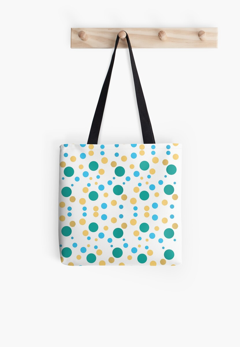 polka dots green yellow blue - white background by -maco-