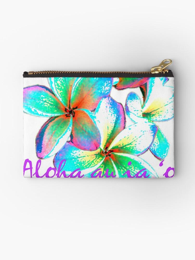'I love you in Hawaiian, Hawaiian Flower' Zipper Pouch by organicgal