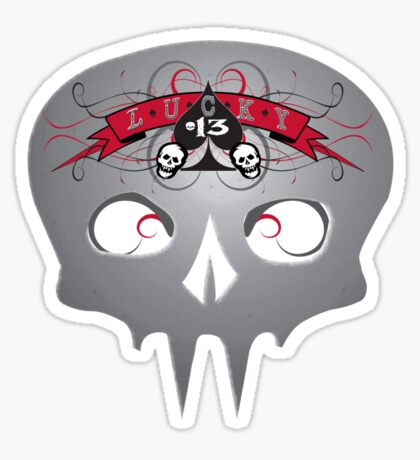 Lucky 13 Skull Sticker