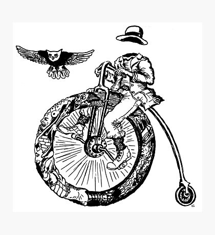 Biker. Surreal black and white pen ink drawing  Photographic Print