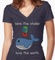 save the whales, love the earth Women's Fitted V-Neck T-Shirt