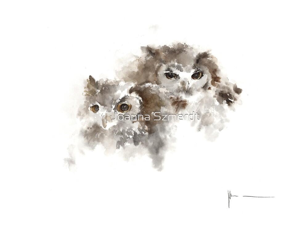 Owls original painting watercolor art print by Joanna Szmerdt