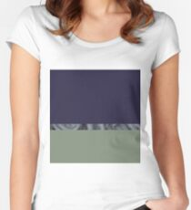 Dorm Room decor abstract landscape green and blue swirl Women's Fitted Scoop T-Shirt