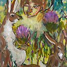 Rabbits and Woman by SHANNON BUEKER
