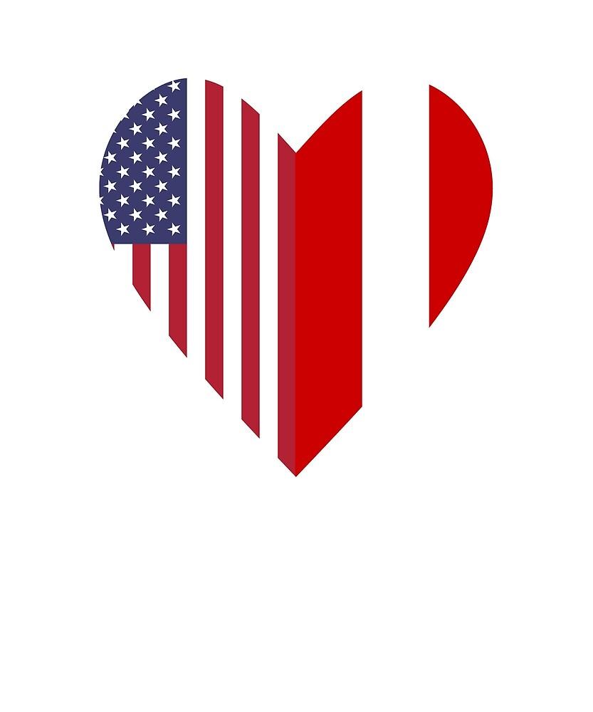 Half Austria Flag Half USA Flag Love Heart by TrevelyanPrints