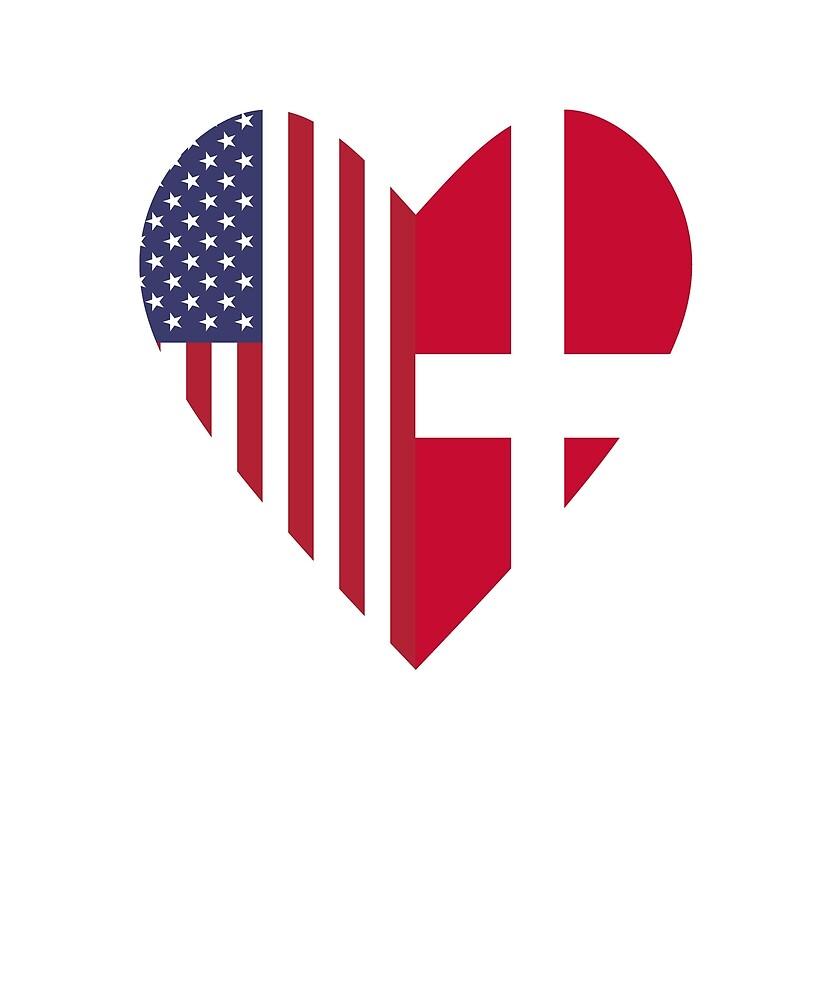 Half Denmark Flag Half USA Flag Love Heart by TrevelyanPrints