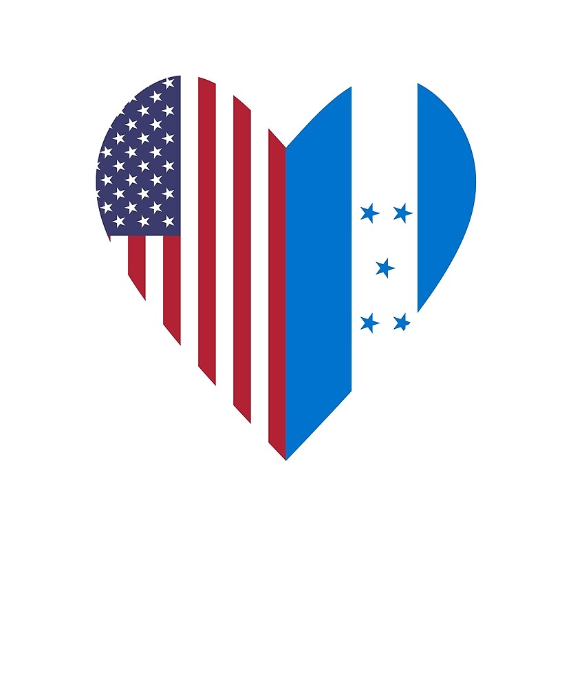 Half Honduras Flag Half USA Flag Love Heart by TrevelyanPrints