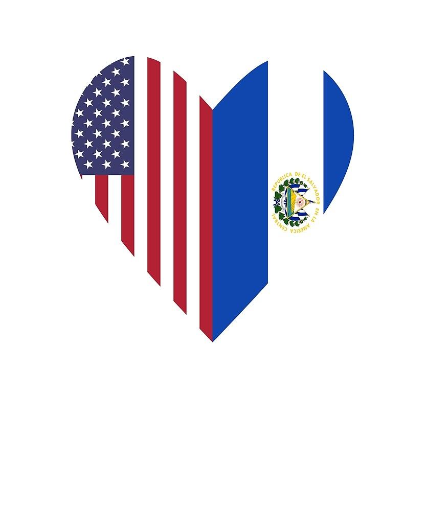 Half El Salvador Flag Half USA Flag Love Heart by TrevelyanPrints