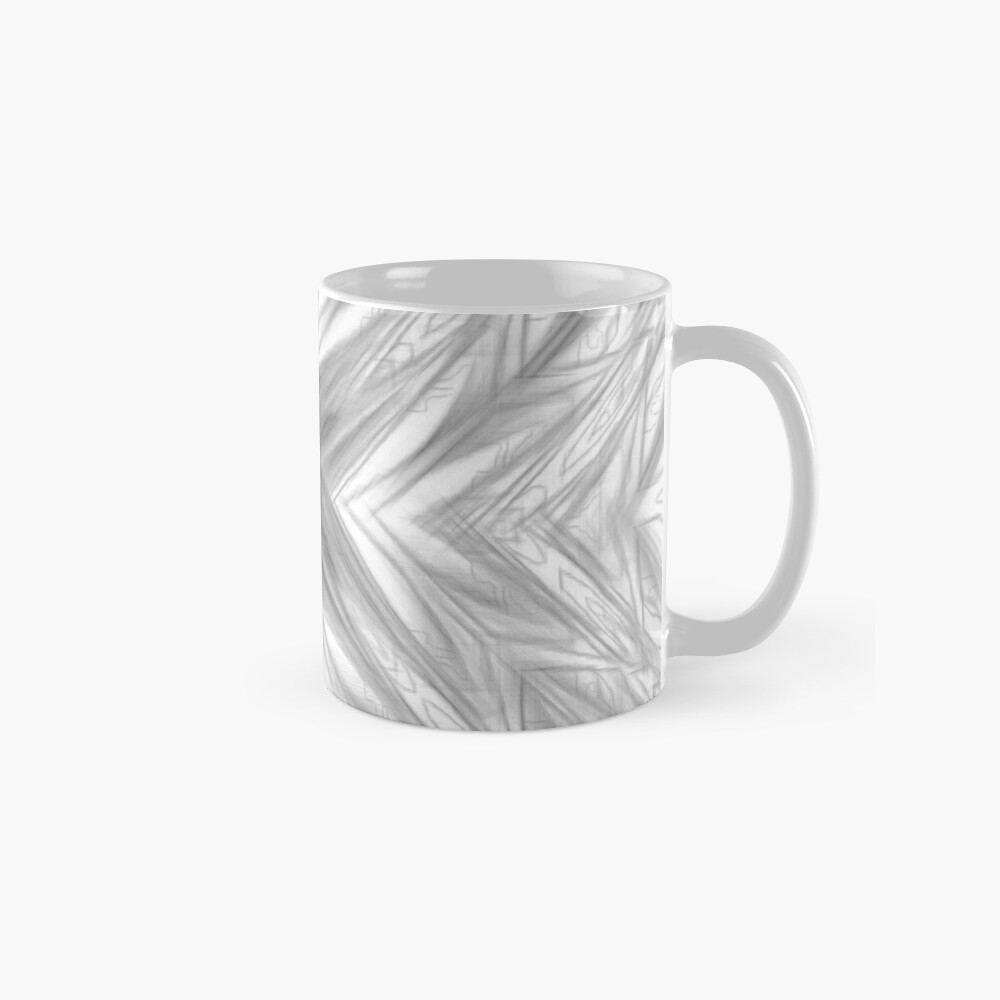 psychedelic drawing symmetry graffiti art abstract pattern in black and white Standard Mug