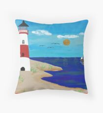 Coastline Lighthouse Throw Pillow