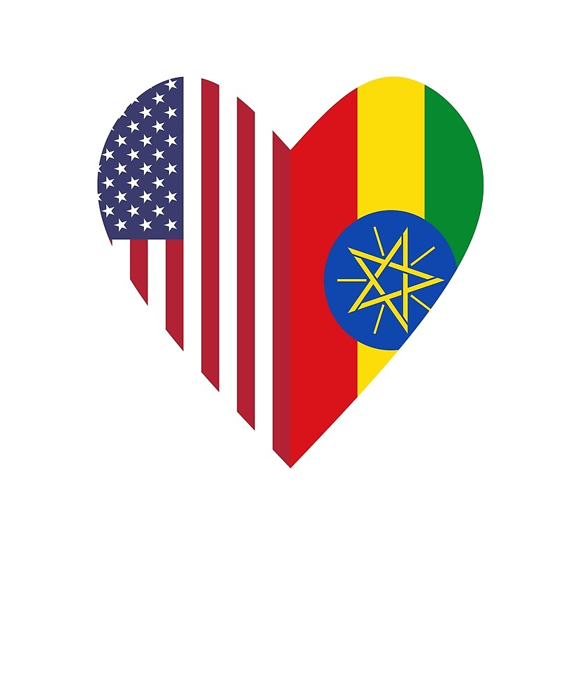 Half Ethiopia Flag Half USA Flag Love Heart by TrevelyanPrints