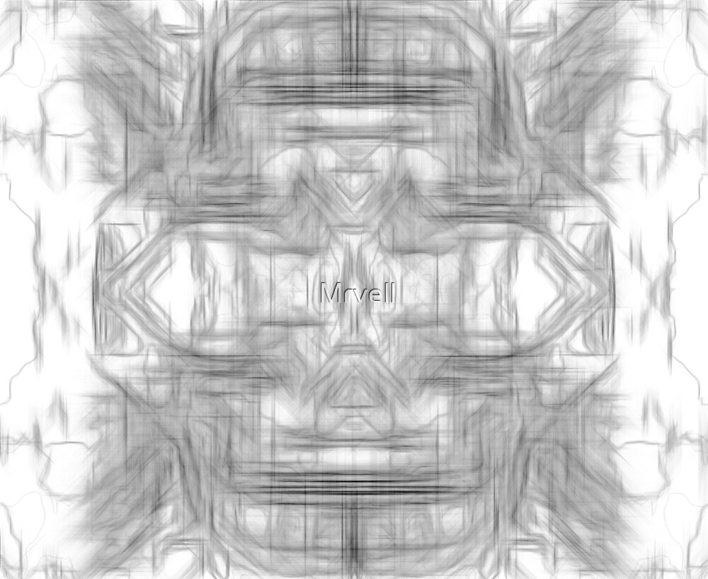 psychedelic graffiti skull art abstract in black and white by Mrvell