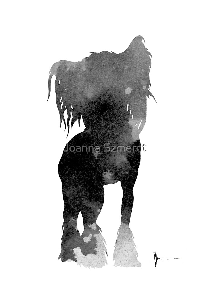 Chinese crested silhouettes watercolor art print painting by Joanna Szmerdt