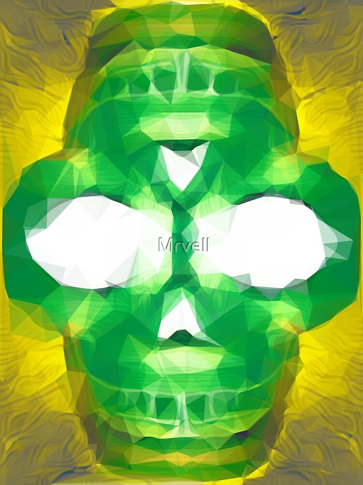 psychedelic skull art geometric triangle abstract pattern in green yellow by Mrvell