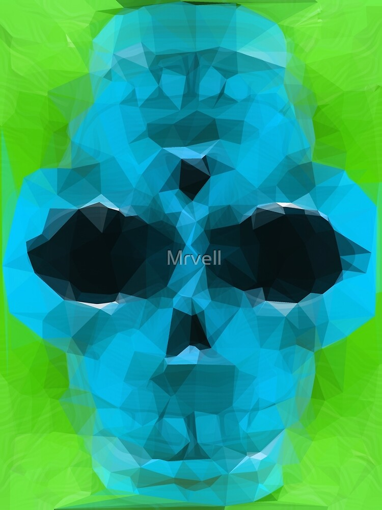 psychedelic skull art geometric triangle abstract pattern in blue and green by Mrvell
