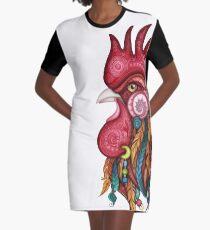 Stammes-Hahn-Design T-Shirt Kleid