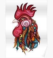 Tribal Rooster Design Poster