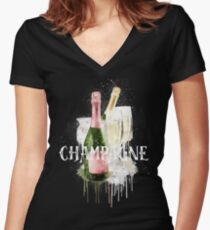 Watercolor Champagne Women's Fitted V-Neck T-Shirt