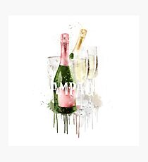 Watercolor Champagne Photographic Print