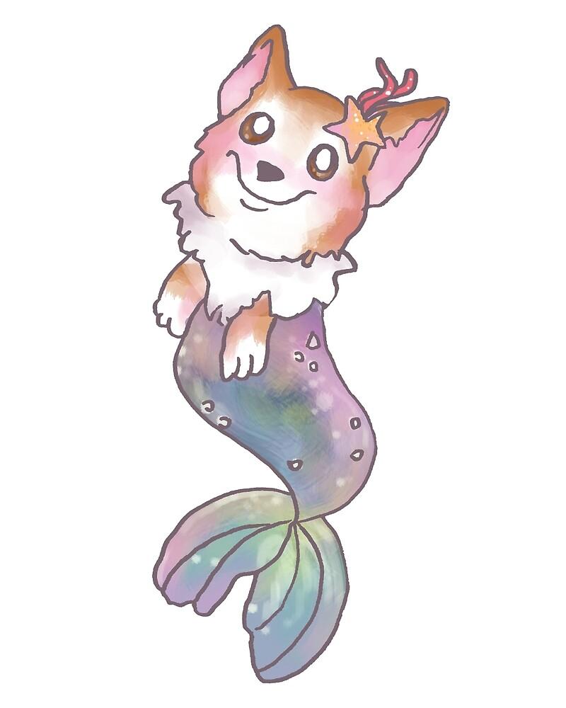 Corgi Mermaid by alyjones