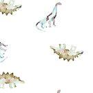 Watercolor Dinosaurs by lolipoptalia