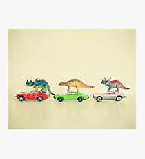 Dinosaurs Ride Cars Photographic Print