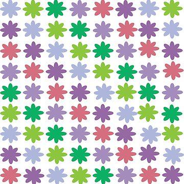 Flower Pattern Pink Green Purple by ValeriesGallery