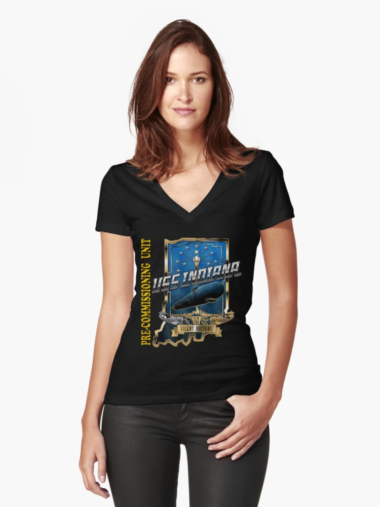 SSN-789 Crest for Dark Clothing Women's Fitted V-Neck T-Shirt Front
