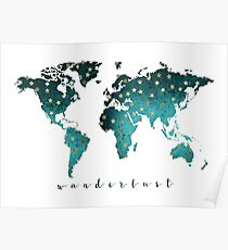 World map Turquoise Poster
