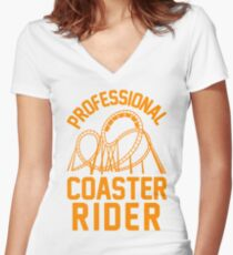 Professional Coaster Rider Women's Fitted V-Neck T-Shirt