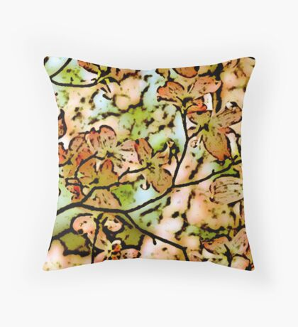 Blossom faded ink Throw Pillow