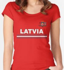 Latvian Team - Latvujas Latvia National Jersey Design Women's Fitted Scoop T-Shirt
