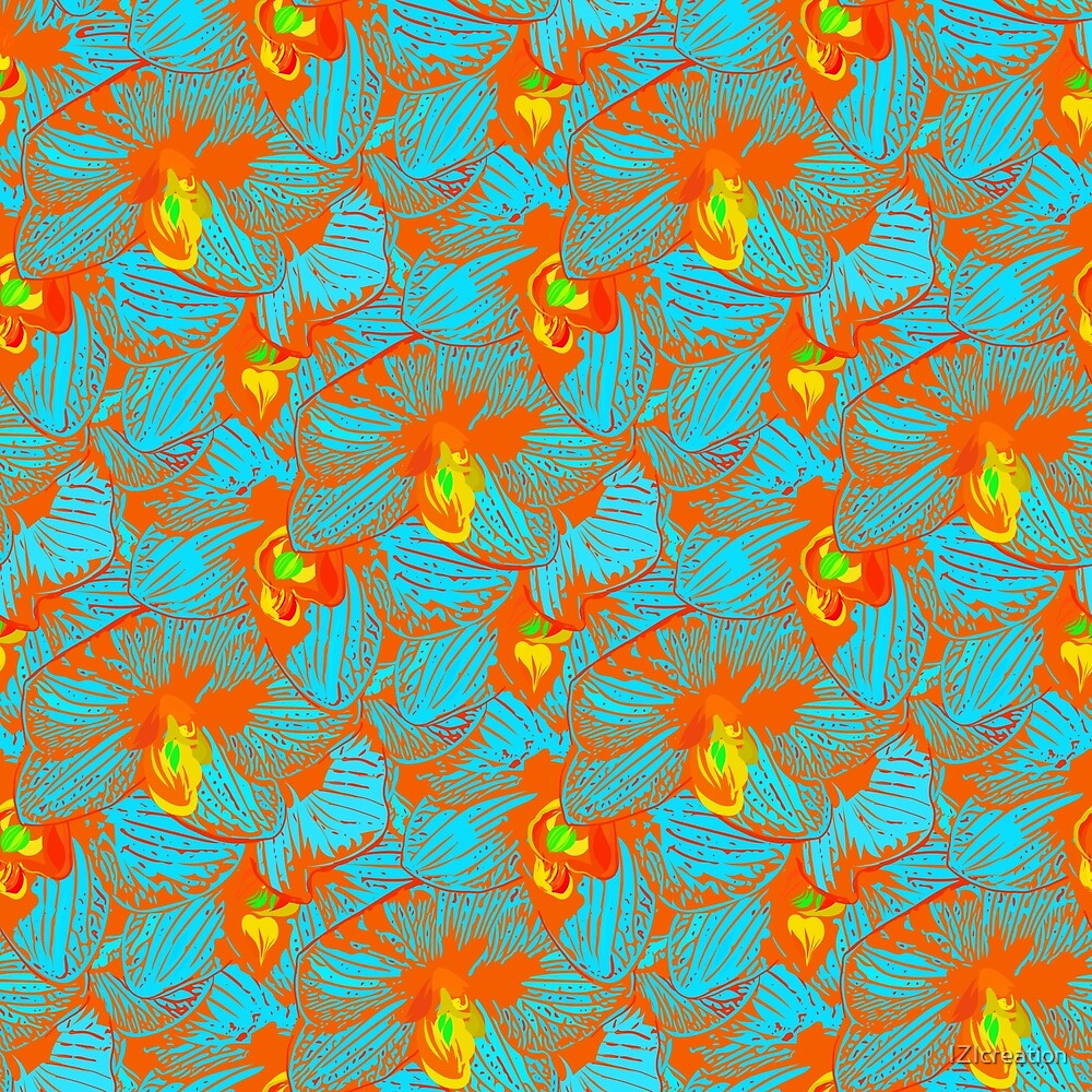 Neon seamless pattern of orchids. by IZIcreation