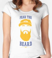 Eric Thames - Fear the Beard (White Background) Women's Fitted Scoop T-Shirt