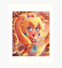 Fire Princess Peach Portrait Art Print