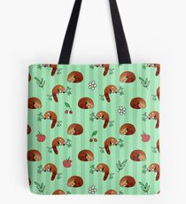 Red Panda Apple Cherry Pattern Tote Bag