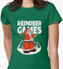 Christmas Reindeer Games with Santa Women's Fitted T-Shirt