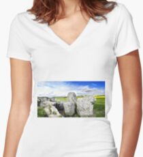 WEST KENNET LONG BARROW, Marlborough, Wiltshire, England 3 Women's Fitted V-Neck T-Shirt