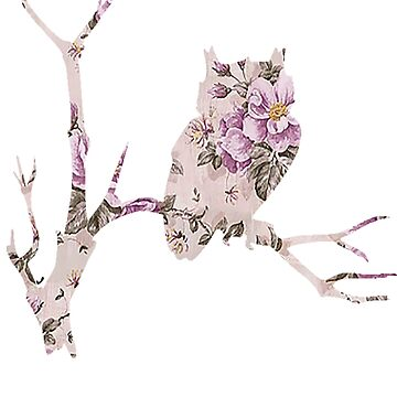 Floral Owl on Branch by thecatswhisper