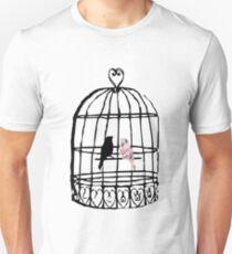 Floral Vogelkäfig Slim Fit T-Shirt