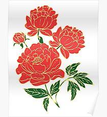Rote Pfingstrosen # 1 Poster