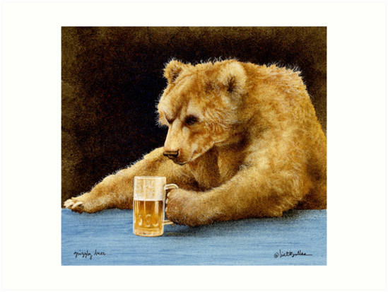 Will Bullas print / grizzly beer... by Will Bullas