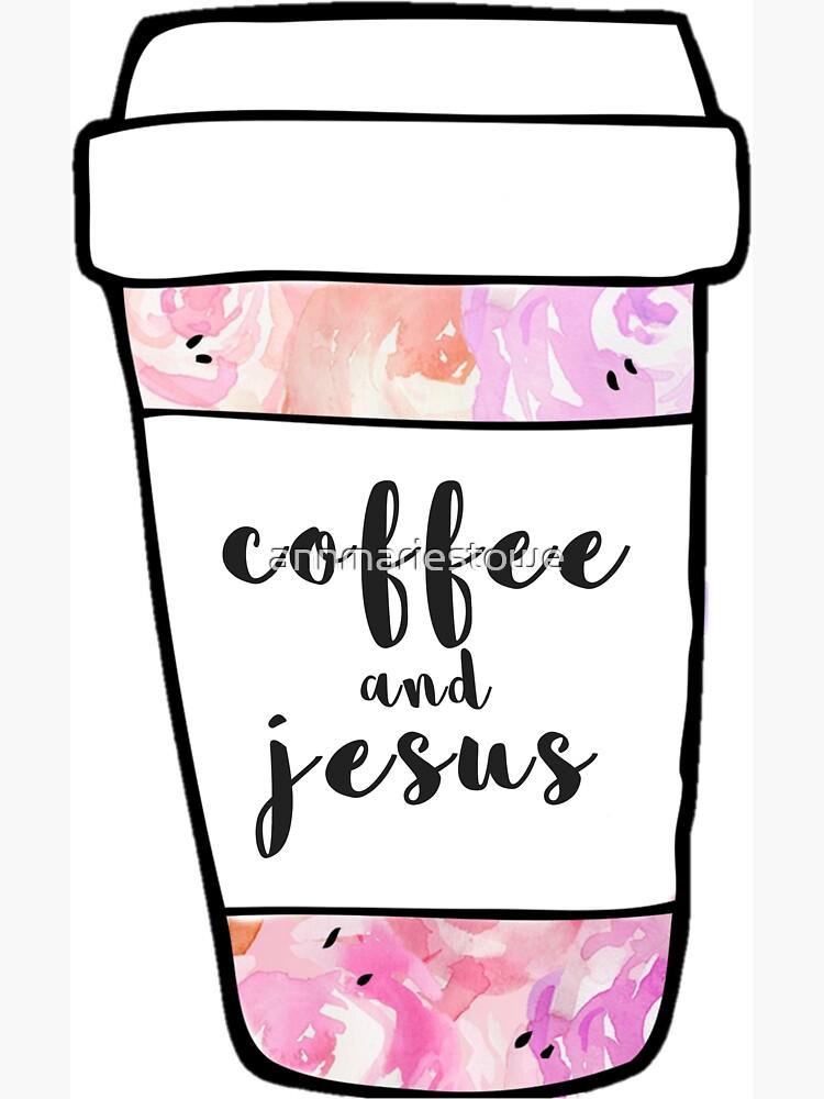 Coffee and Jesus Watercolor Mug by annmariestowe